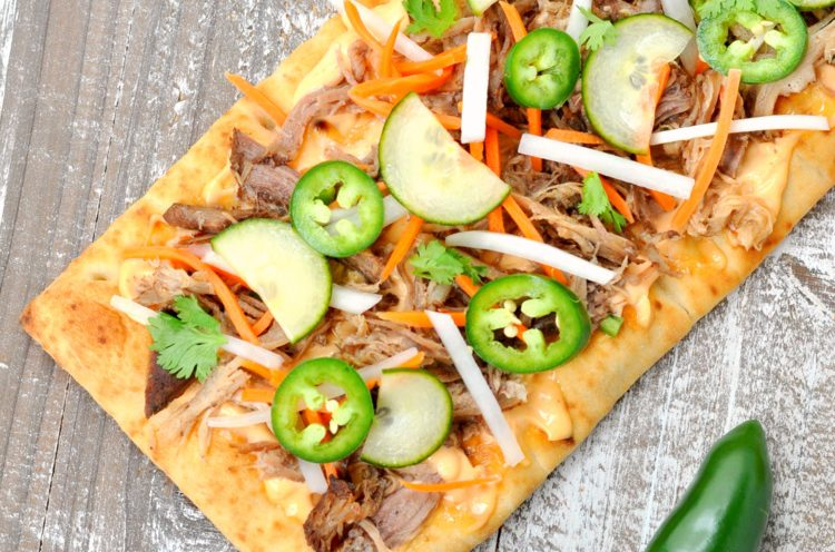 Overhead photo of Banh Mi Flatbread PIzza