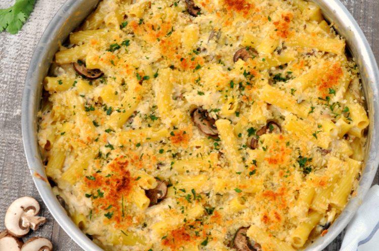 Overhead photo of Chicken Marsala Casserole in pan