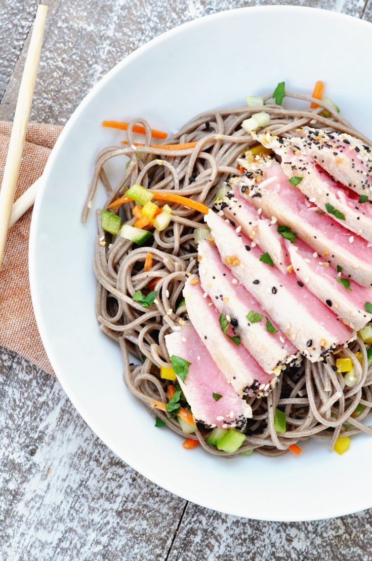 Seared Tuna Soba Noodle Salad