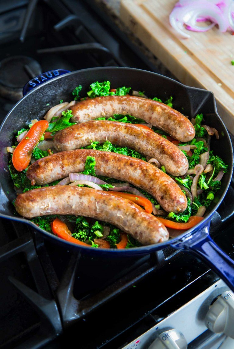 Kale, Sausage and Pepper Skillet from Primal Gourmet