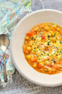 Spiced Chickpea Lentil Soup in Bowl