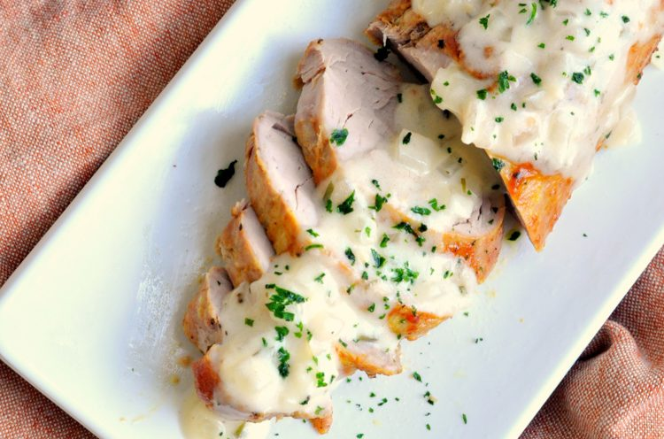 Roasted Pork with Creamy White Wine Sauce