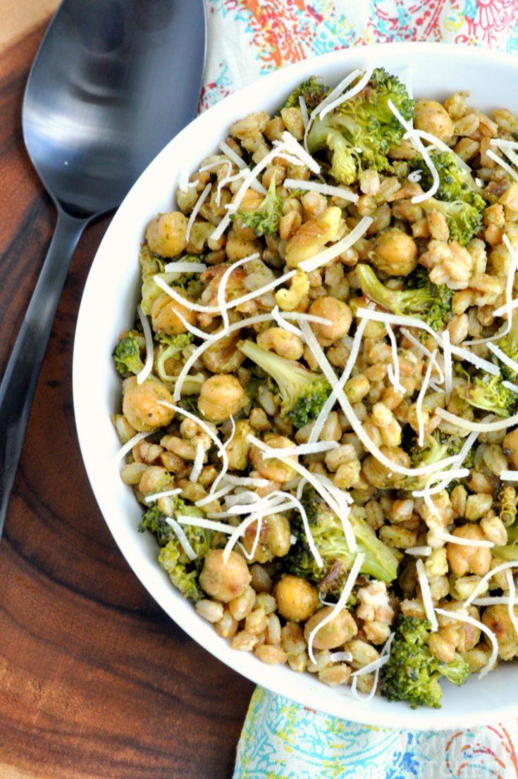 Roasted Broccoli Farro Salad