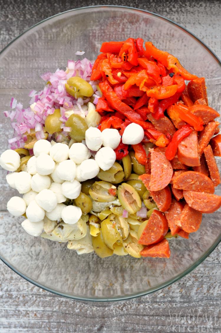 Zesty Italian Pasta Salad Ingredients